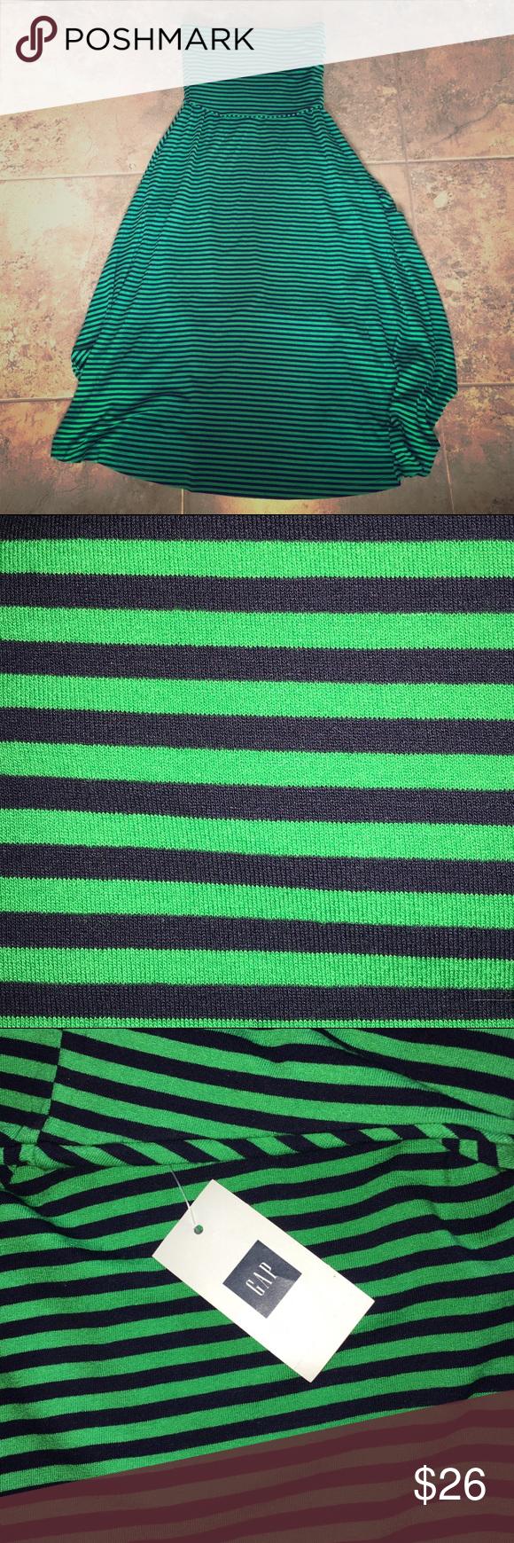 Gap maxi dress green stripe