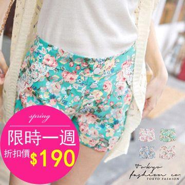 CliPick 的東京著衣 的蕾絲綴口袋花朵排扣短褲 http://www.clipick.com/item?sid=135547