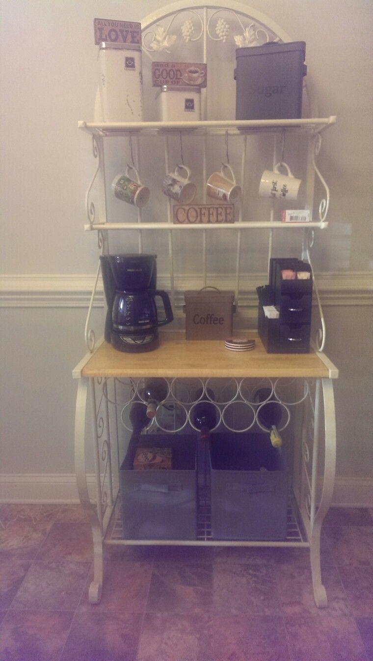 Bakers rack turned to coffee bar 1000 farmhouse