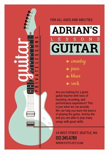 Music Lesson Flyer Template Beautiful Guitar Musical Flyer ...