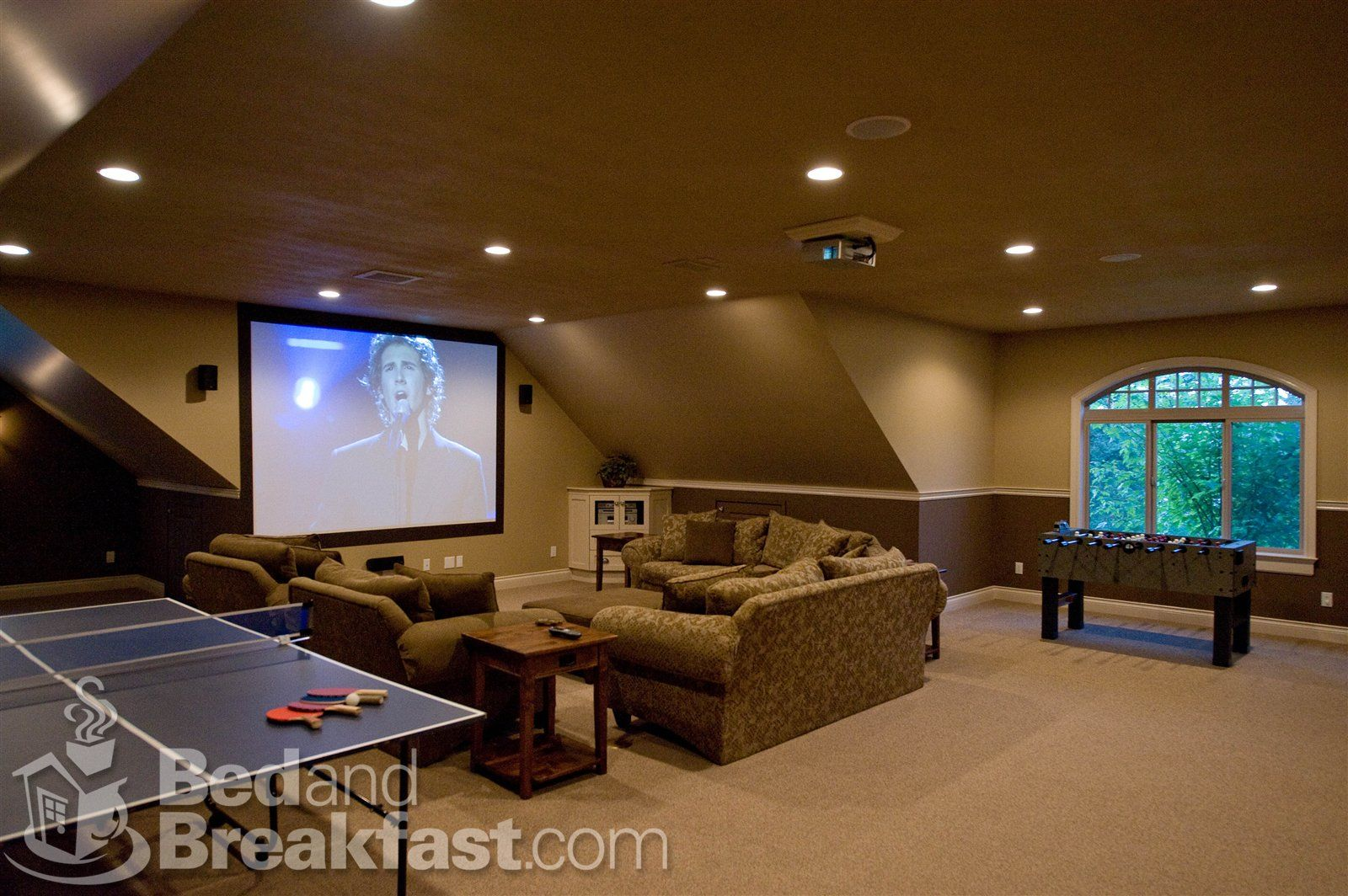 basement with theatre and games bar in the back minus the ping pong and foozeball - Game Rooms