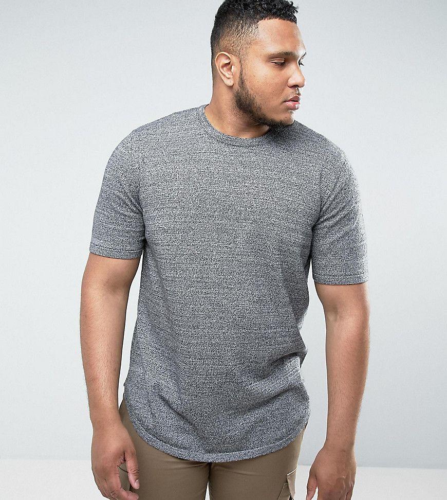 76cf7c50 ASOS PLUS Longline T-Shirt with Curved Hem In Black & White Twist - Gr