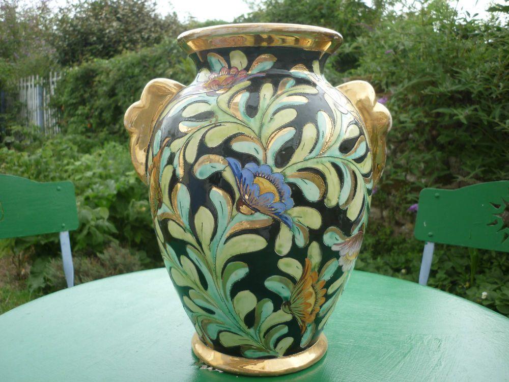 grand vase ceramique de monaco vallauris decor fleurs 31x19cms signe lamarche faience. Black Bedroom Furniture Sets. Home Design Ideas