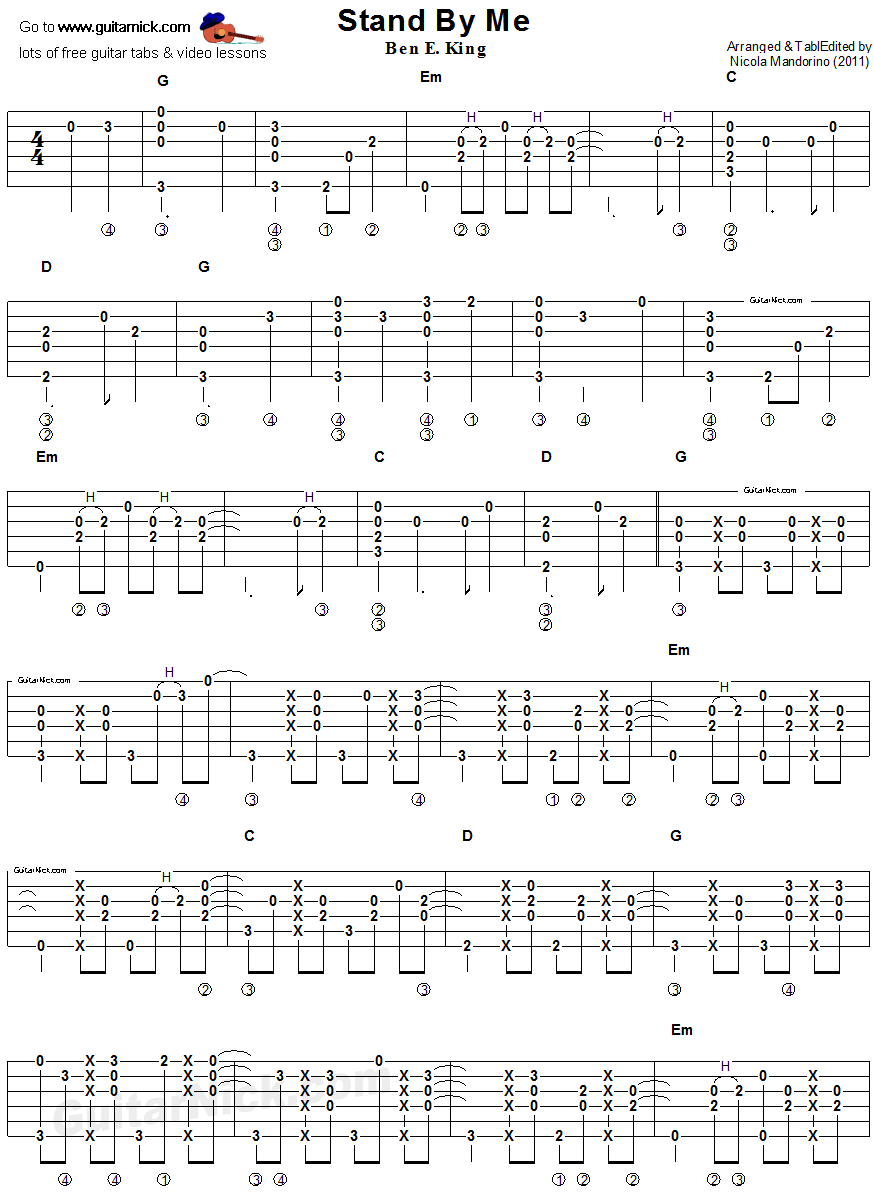 Stand By Me Fingerstyle Guitar Tablature 1 Guitar Stuff