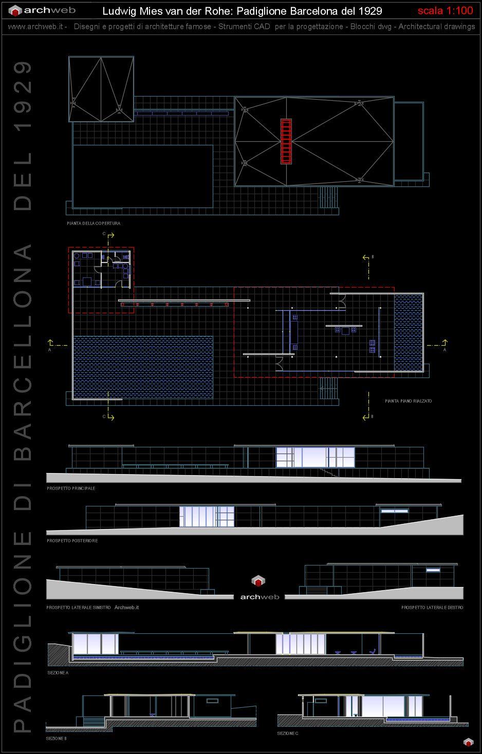 Padiglione Barcelona Autocad Dwg Barcelona Pavilion Pinterest  # Muebles Mies Van Der Rohe Autocad