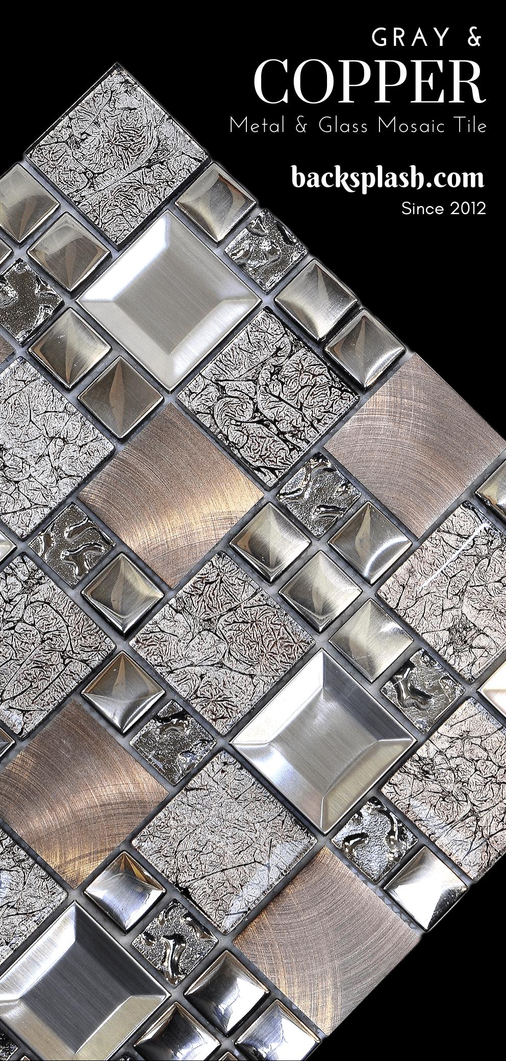 Glass Metal Gray Copper Mosaic Backsplash Tile Backsplash Com Copper Mosaic Backsplash Copper Mosaic Mosaic Backsplash