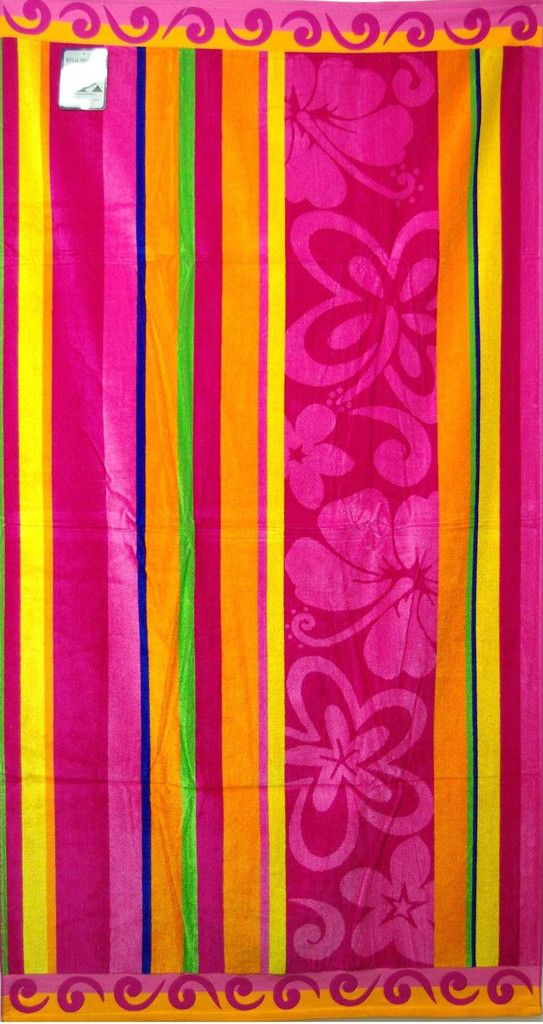 Floral Stripe 40x70 Egyptian Cotton Beach Towel Made In Egypt
