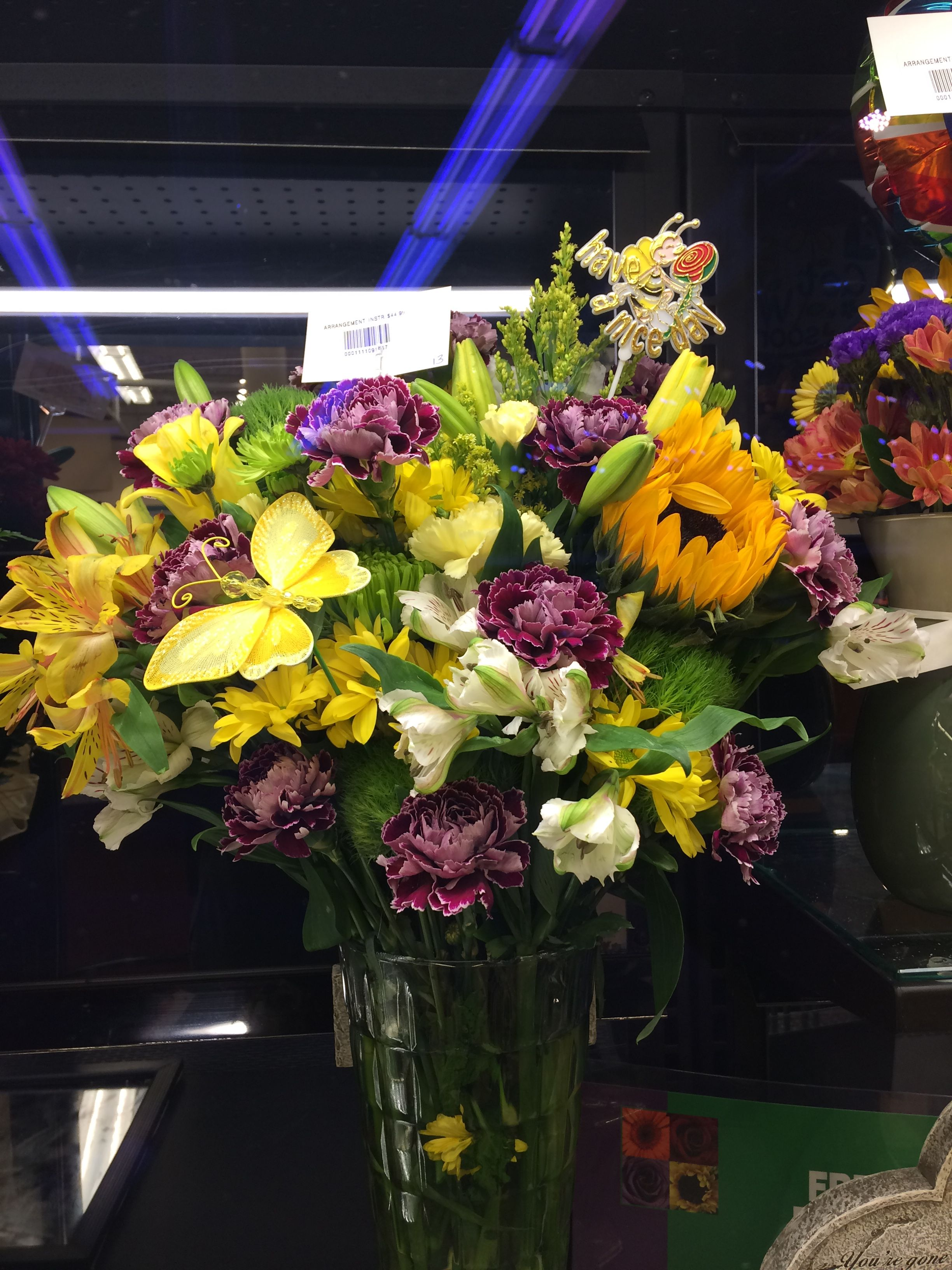 Purple and yellow floral arrangement Floral Pinterest