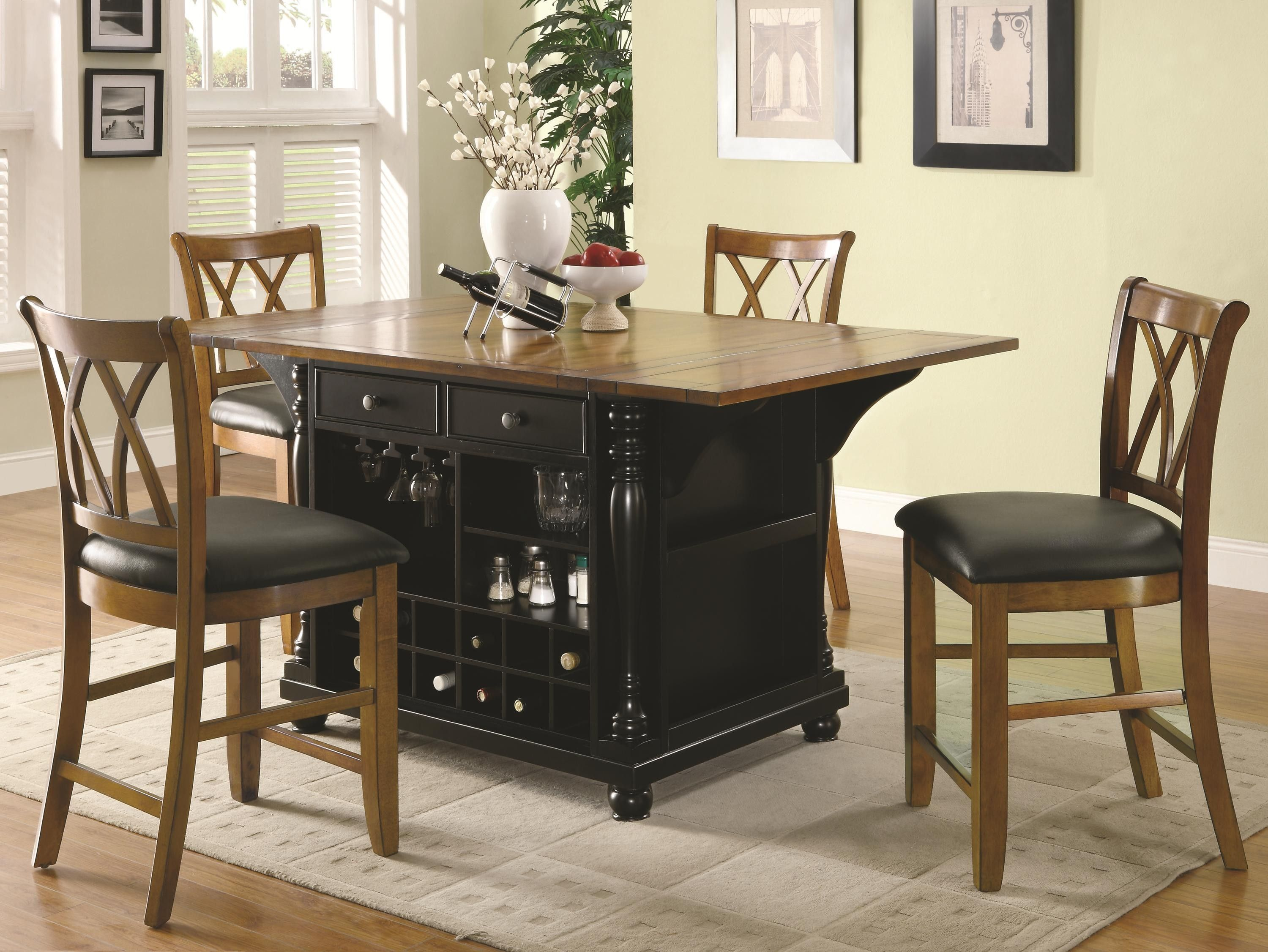 Kitchen Carts Two-Tone Kitchen Island with Drop Leaves ...