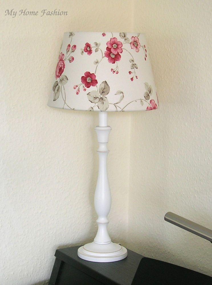 NORDIKA Lampe Rosen Landhausstil, Tischlampe Rosen Rosa Rot, Beistelllampe  Rosen
