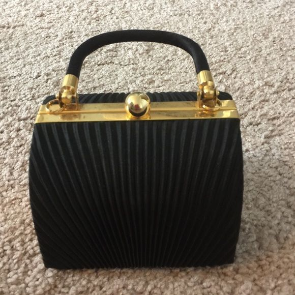 "Black Pleated Fabric Mini Bag 5 "" across and 3 1/2 "" tall, this is an adorable little bag with a fabric covered handle and gold tone hardware. So cute!! Other Bags Mini Bags"