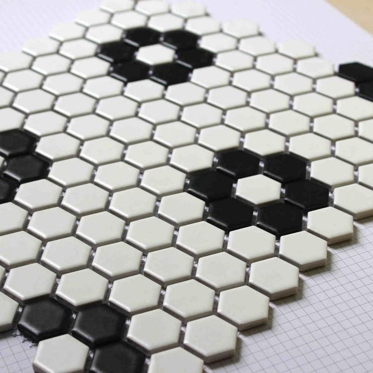 Daltile Keystones 2 Hex Hexagon White Black Dot