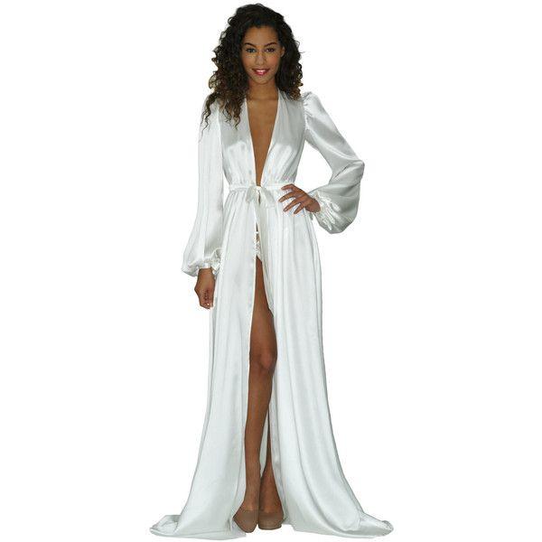 902f534a3f Simone robe in ivory silk charmeuse satin- white floor-length robes ...