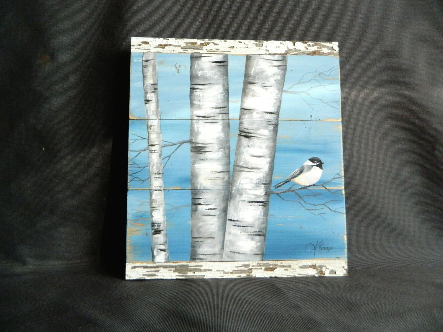 White Birch Painting Painting On Pallet Wood Bird Wall
