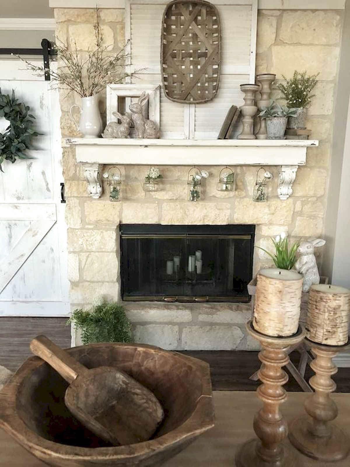 38 Best Modern Farmhouse Fireplace Mantel Decor Ideas Easter Fireplace Mantel Decor Easter Fireplace Mantel Fireplace Mantel Decor
