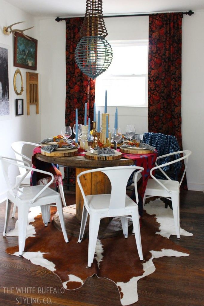 BHG Cabin Chic-Mixing rich patterns with rustic touches-White Buffalo Styling