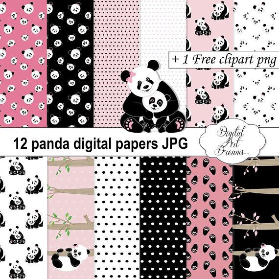 Panda Digital Papers Animal Scrapbooking Paper Invitations