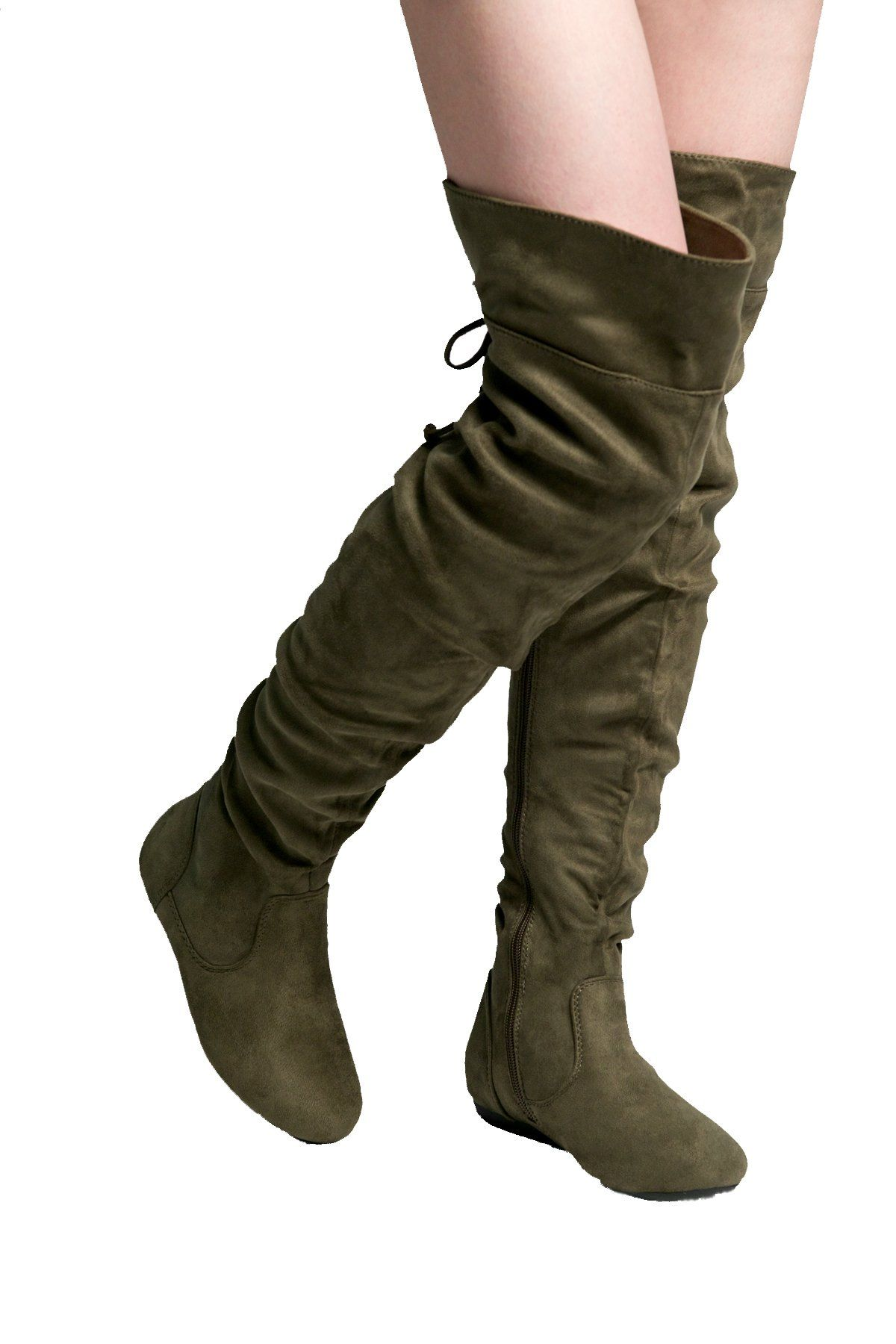 2605a10660b0 HerStyle Lauurren Faux Suede Thigh High Boots Olive 9     Read more reviews  of
