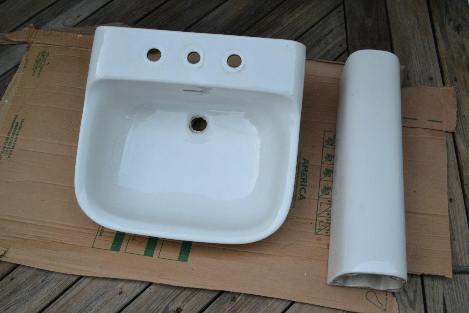 American Standard Art Deco Porcelain Pedestal Sink Bowl 1940\'s Mid ...