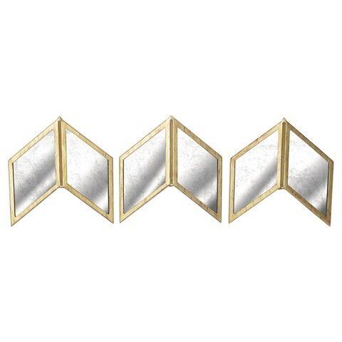 "Metal Wall Decor Target glass arrow wall décor 18""x6"" - set of 3 | chevron mirror, wall"