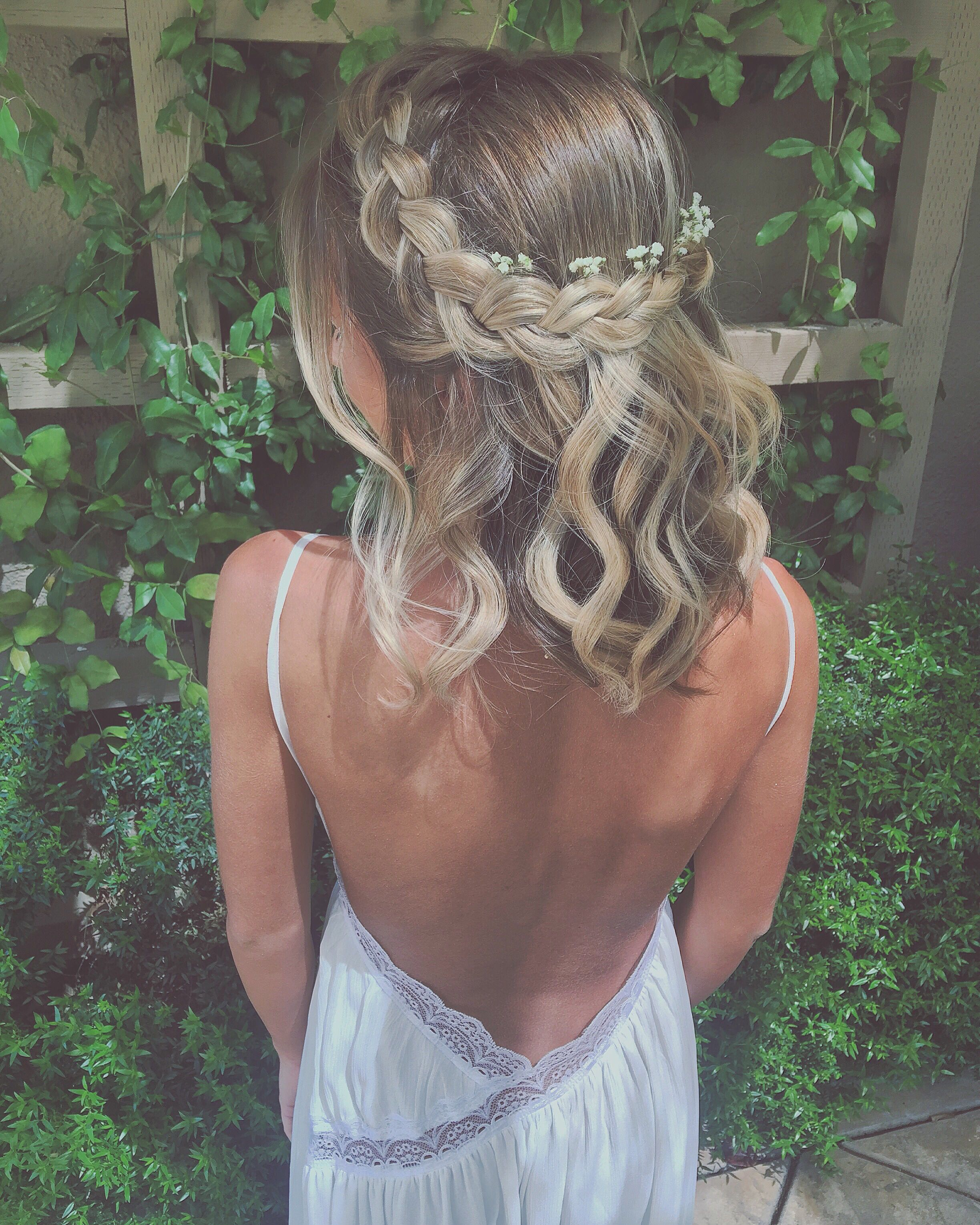 braided crown with baby's breath flowers   hair   pinterest