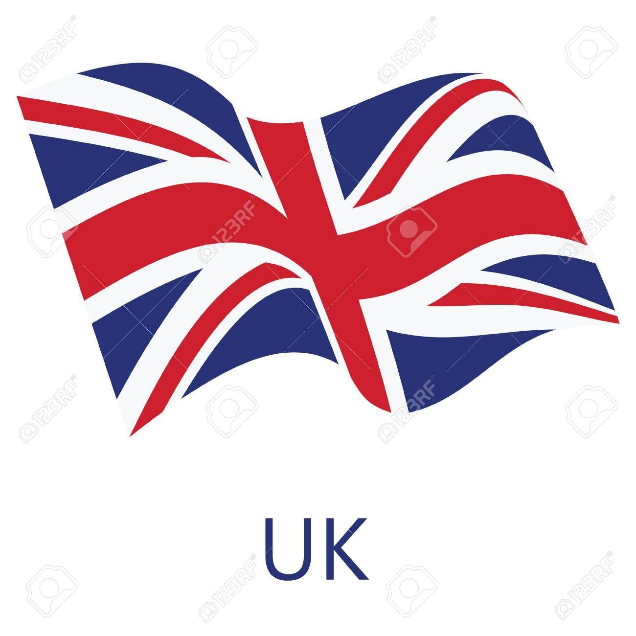 Vector Illustration Waving Flag Of United Kingdom Of Great Britain Icon Uk Flag Button Isolated On White Backg Uk Flag Vector Illustration United Kingdom Flag