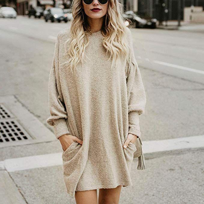 b90a064c Clearance Sale ! Women Long Tops Dress BeautyVan Women Casual Crewneck  Pocket Long Sleeve Loose Tunic