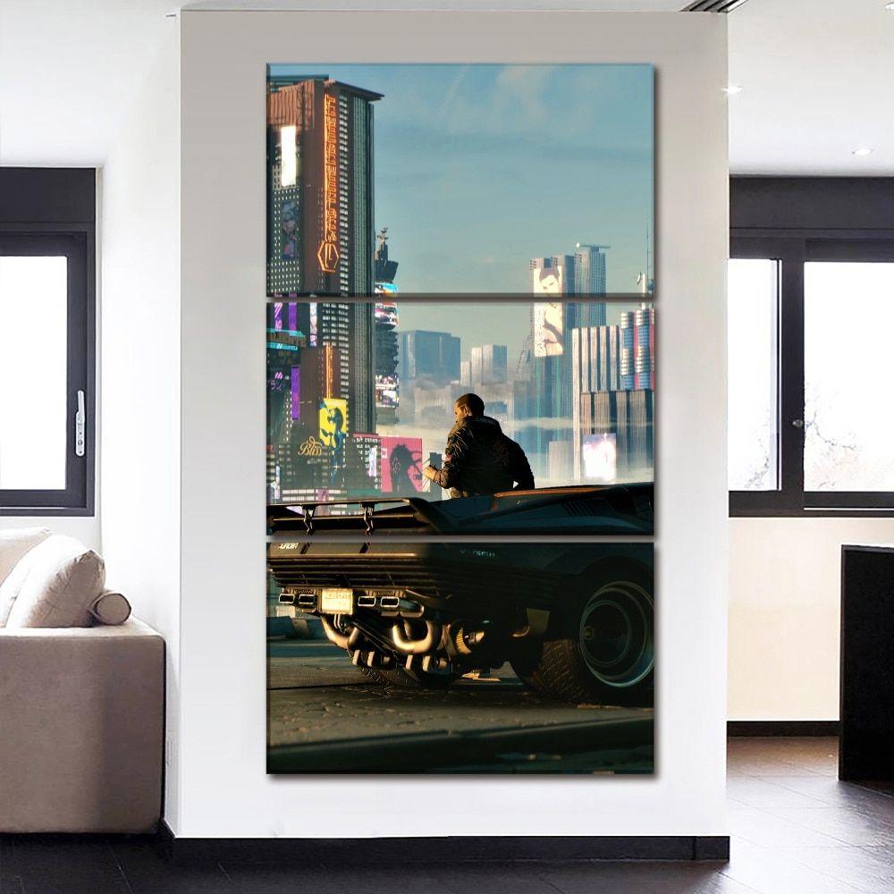3 Panel Canvas Print Wall Art Game Cyberpunk 2077 City Landscape Canvas Print Wall Wall Art Prints City Landscape