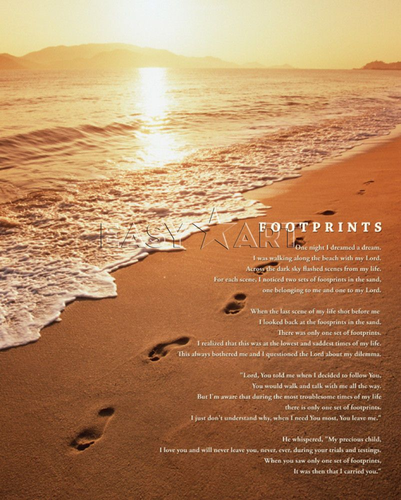 photograph regarding Footprints in the Sand Printable called Pix For \u003e Footprints Inside The Sand Poem Printable Edition