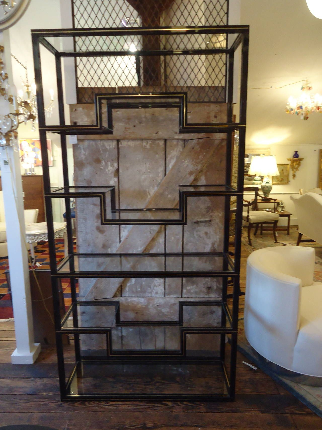 Super Chic Pierre Vandel Lacquered Aluminum Tag Re Glass  # Etagere Television Plat