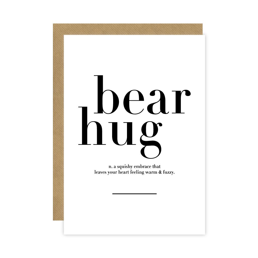Monochrome Bear Hug Meaning Card Greeting Cards Pinterest Bear