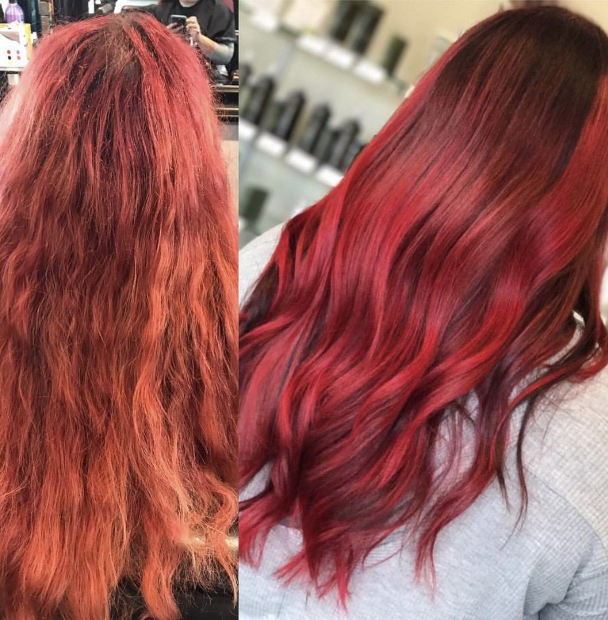 Red Hair Makeover Before And After Hair Color Long Hair Bright