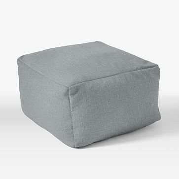 """Pouf Collection 22"""" Cover + Insert, Linen Weave, Dusty Blue"""