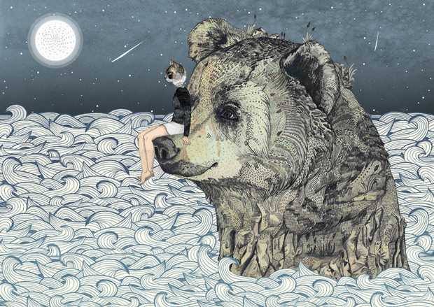 La naturaleza silvestre de las ilustraciones de  Sandra Dieckmann. Oso