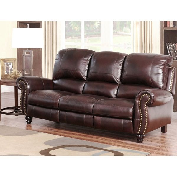 ABBYSON LIVING U0027Madisonu0027 Premium Grade Leather Pushback Reclining Sofa    Reviews, Deals U0026 Prices   17119563