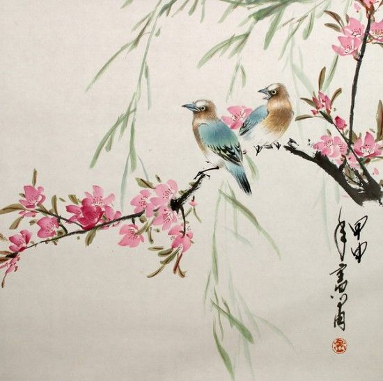 Sparrow Birds Japanese Painting Chinese Artwork Watercolor Art
