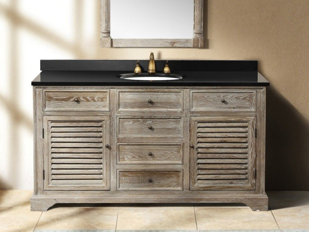 60 Inch Single Sink Driftwood Grey Vanity Single Sink Bathroom
