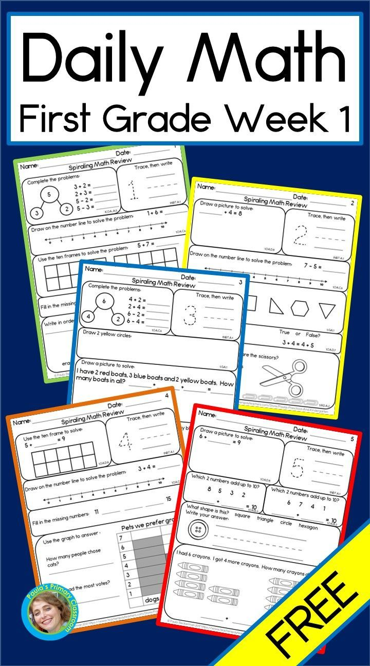 Daily Math For First Grade Free Distance Learning Daily Math First Grade Math Worksheets Daily Math Activities [ 1296 x 720 Pixel ]