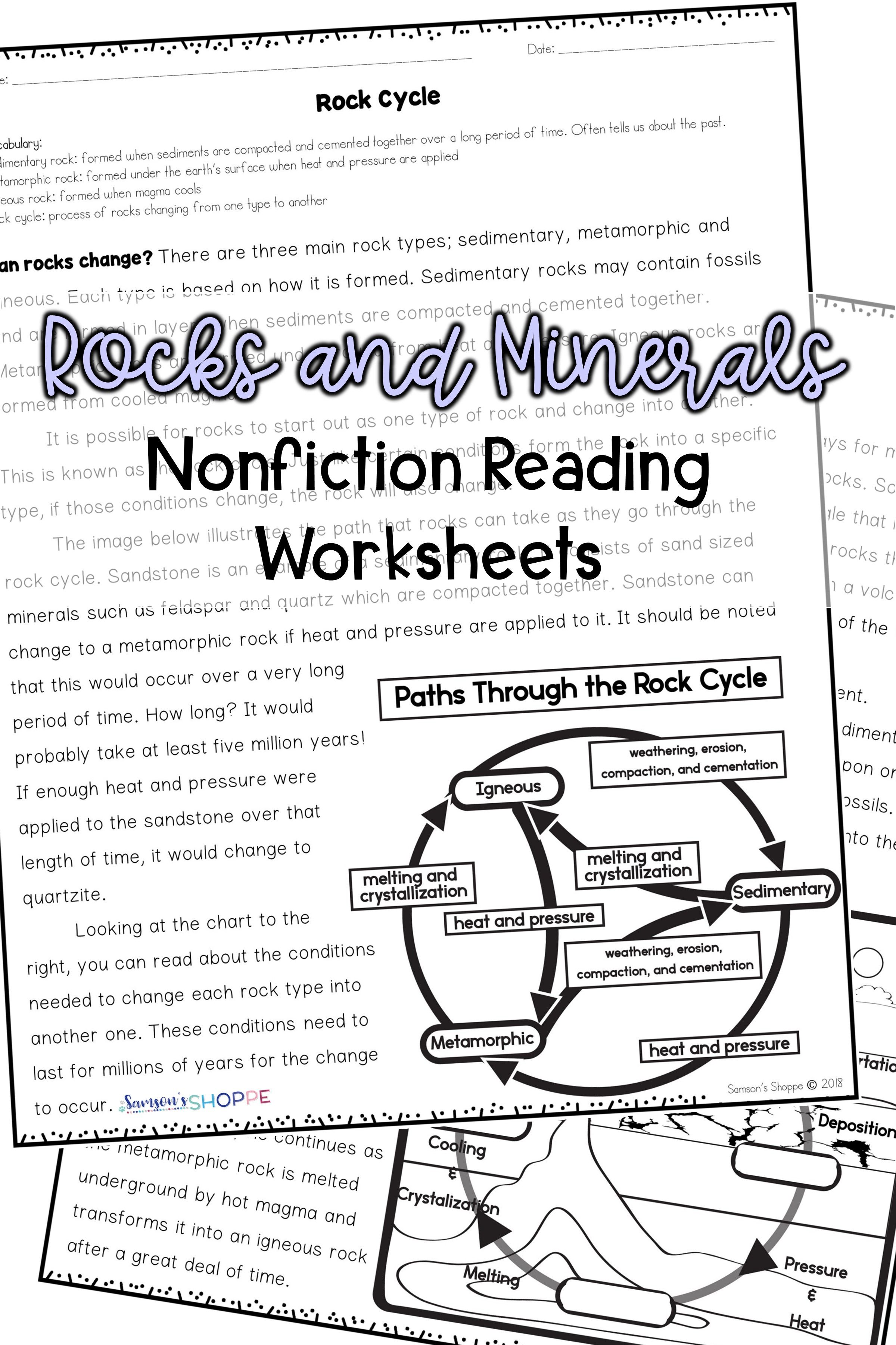 Rocks And Minerals Nonfiction Reading Activity Worksheets