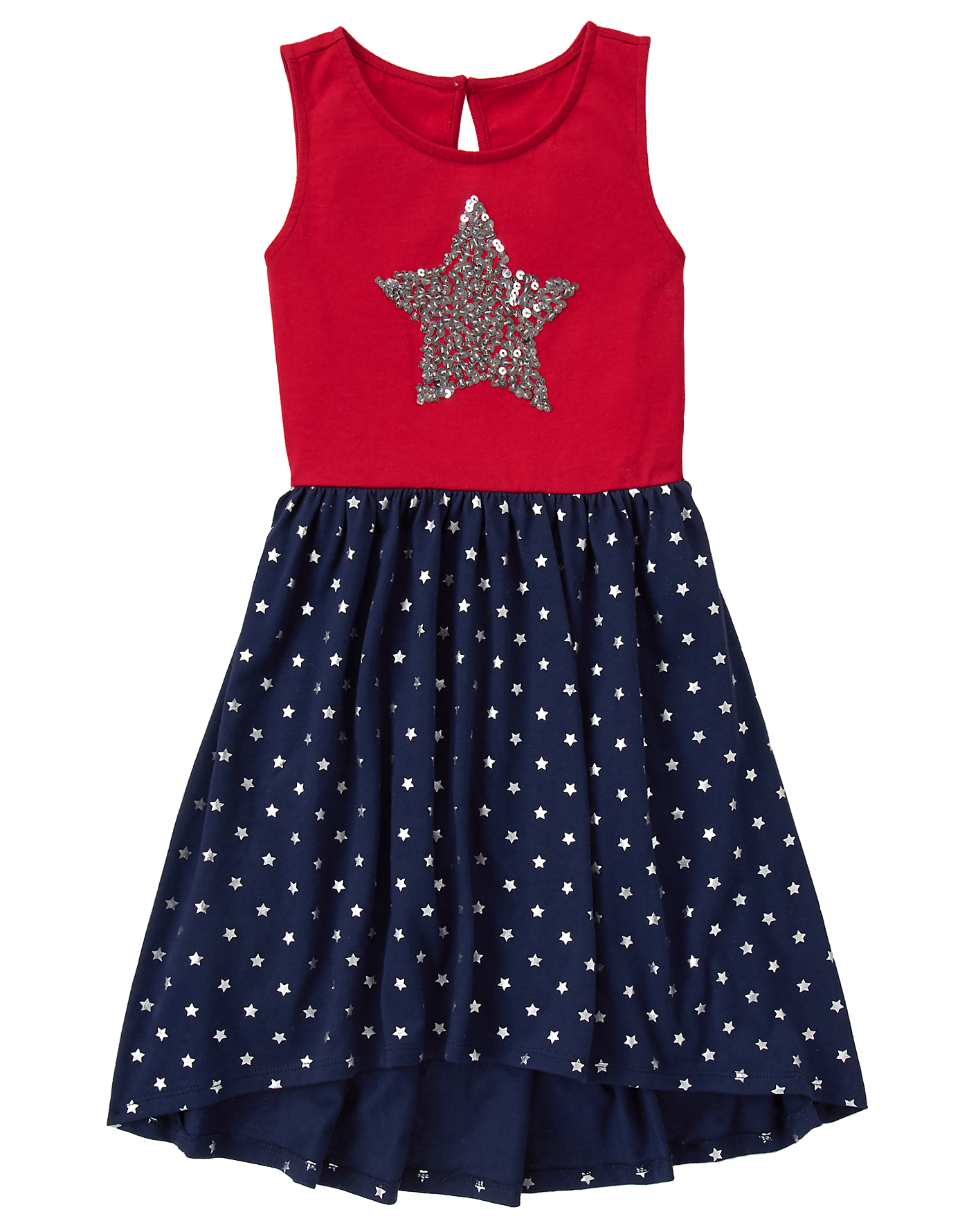 8ee1cb7675 Girl True Red Sequin Star Dress by Gymboree. 100% cotton jersey, Keyhole  button back, Features embroidery with sequins, Pieced skirt, Approximately  knee ...