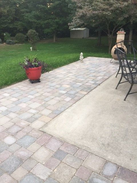 Extending concrete patio with pavers Outdoor ideas and Curb