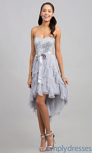 High Low Strapless Sequin Embellished Dress at SimplyDresses.com