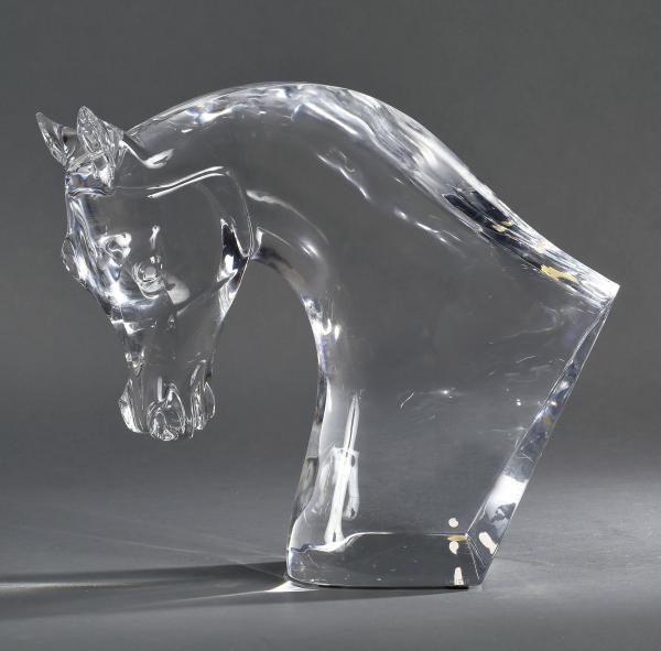 lalique france t te de cheval en verre moul sign sous la base h 38 cm up for sale. Black Bedroom Furniture Sets. Home Design Ideas
