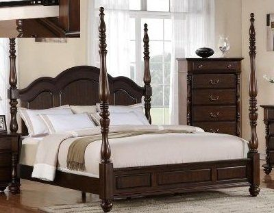 Walnut Dark Georgia Tall Post Traditional Style Size Queen Bed Frame ...