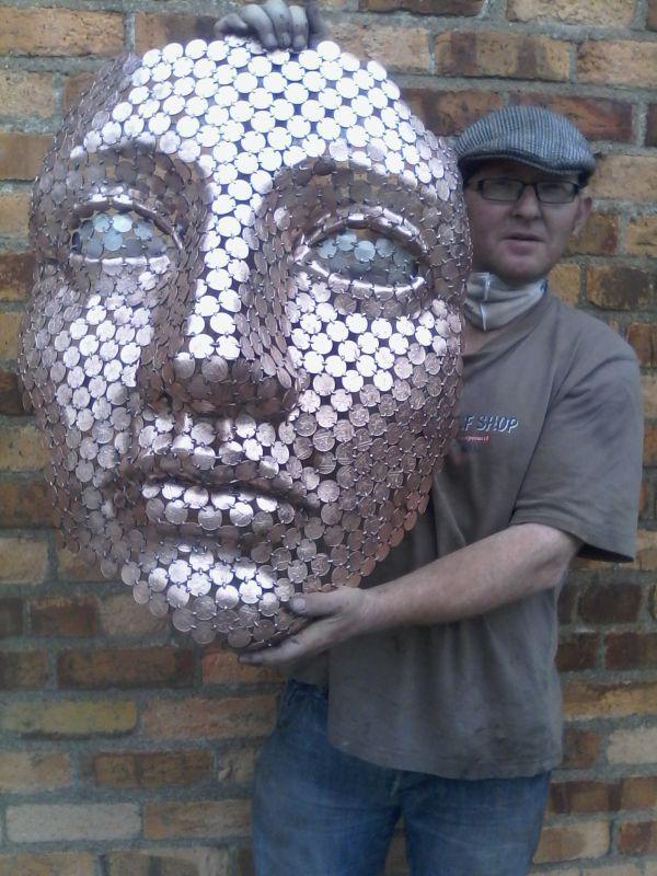 Metal Coins By Shaun Gagg Titled: U0027Money In Mind (Big Face Outdoor Garden  Sculpture Statue)u0027.