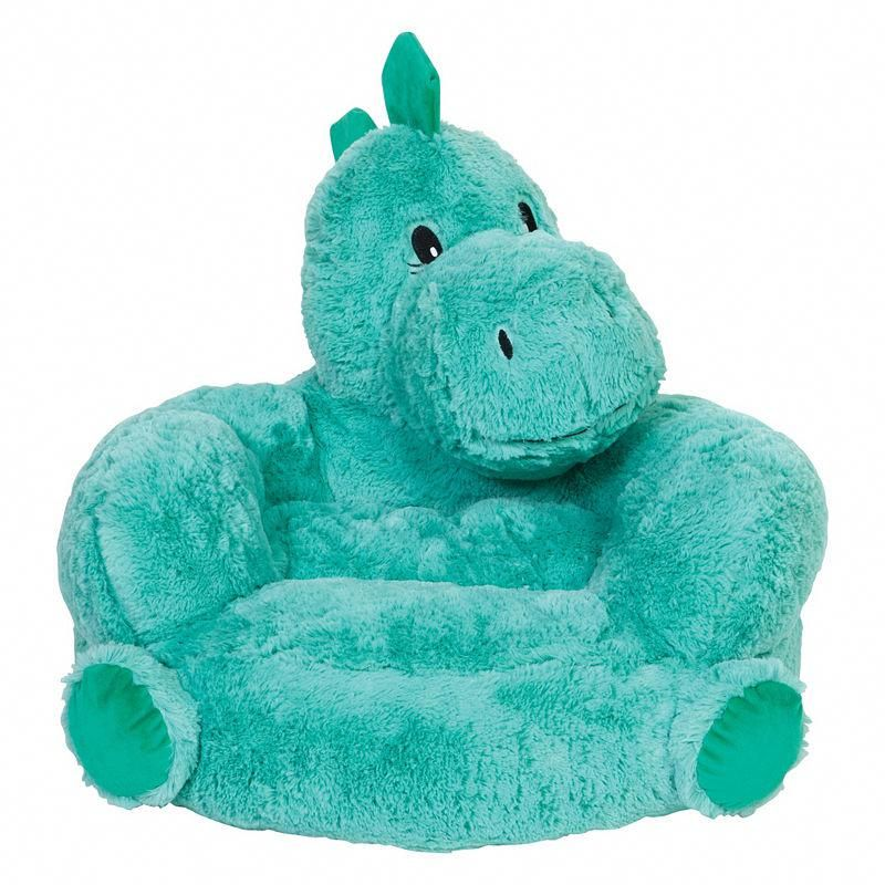 kids plush chairs blue chair and a half with ottoman trend lab children s dinosaur character childrenschair
