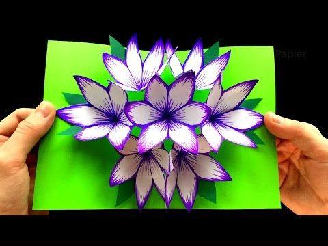 Basteln mit Papier: DIY Blumen Pop-Up Karten - 3D. DIY Geschenke zum Muttertag basteln. Origami