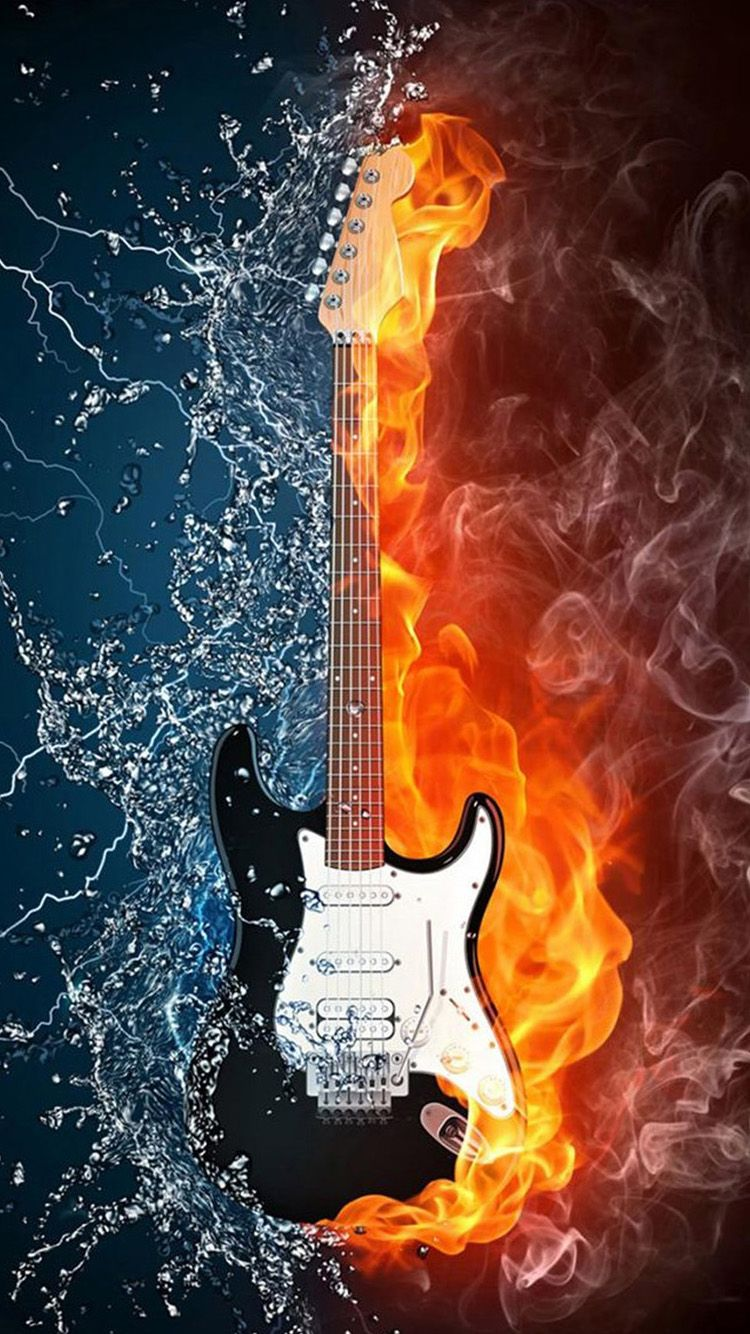 Water and fire guitar iPhone 6 Wallpapers Posters art