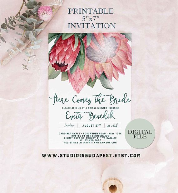 f6dfd9c354ab Protea Bridal Shower invitation PRINTABLE Bachelorette party