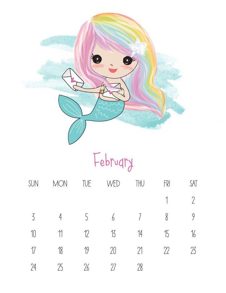 Free Printable 2019 Kawaii Mermaid Calendar 2019 calendar